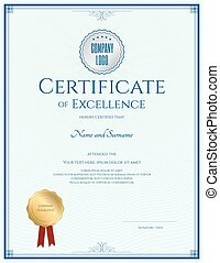 Certificate of excellence template  with gold seal and blue border