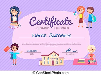 Certificate of Graduation Poster with Students - Certificate...