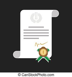 Certificate of honor with gold medal web banner isolated