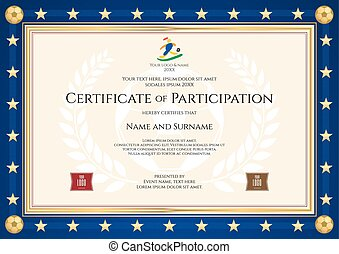 Certificate of participation in sport theme for football match with blue border