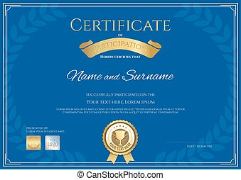 Certificate of participation template in blue theme with award laurel wreath and gold trophy seal