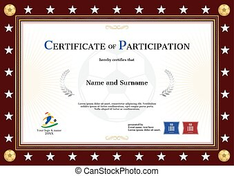 Certificate of participation template in sport theme for football event with red brown border