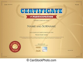 Certificate of participation template with gold background in sport theme
