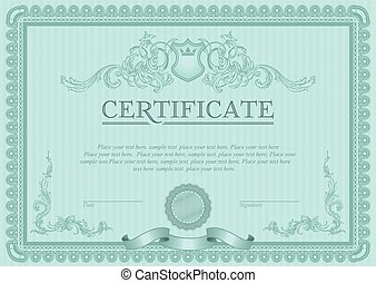 Certificate or coupon template with vintage border