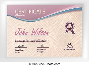 Certificate or Diploma of completion design template. Vector illustration of Certificate of Achievement, award, winner certificate.