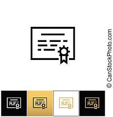 Certificate or seal document vector icon