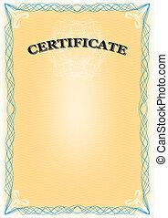 Certificate portrait format. - Certificate portrait format, ...