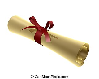 certificate scroll with red ribbon isolated on white...