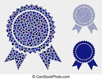 Certificate Seal Icon Mosaics of Squares and Circles