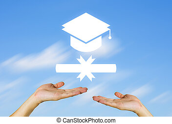 Certificate sign in hand with blue sky background.