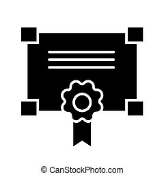 Certificate solid icon. vector illustration isolated on white. glyph style design, designed for web and app. Eps 10