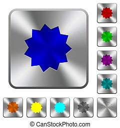 Certificate sticker rounded square steel buttons