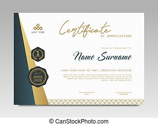 Certificate template awards diploma background vector modern design simple elegant and luxurious elegant. layout horizontal in A4 size