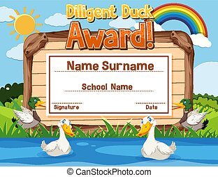 Certificate template design for diligent duck award with ducks in the river