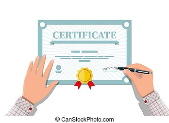 Certificate template. Diploma or accreditation - Businessman...
