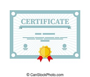 Certificate template. Diploma or accreditation with yellow ...