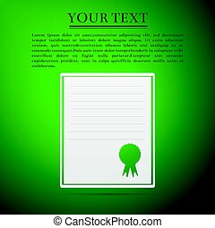 Certificate template flat icon on green background. Vector Illustration