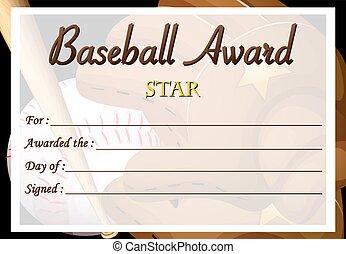 Certificate template for baseball award illustration eps vector certificate template for baseball award yelopaper Gallery