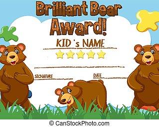 Certificate template for brillant bear award illustration
