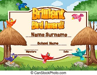 Certificate template for brillant bird award with birds flying illustration