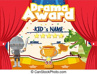 Certificate template for drama award with kids on stage background