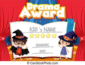 Certificate template for drama award with kids on stage