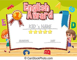 Certificate template for english award with alphabets in background