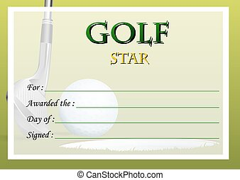 Certificate template for tennis star illustration vector clip art certificate template for golf star yelopaper Gallery