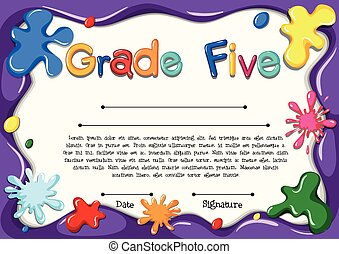 Certificate template for grade five