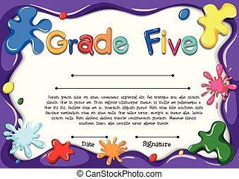 Certificate template for grade five