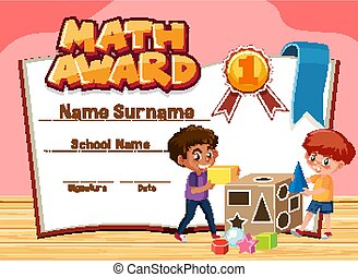 Certificate template for math award with boys playing blocks