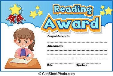 Certificate template for reading award with girl reading in background