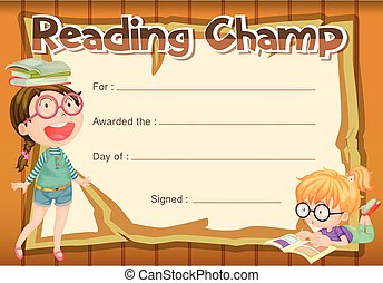 Certificate template for reading champ