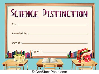 Certificate template for science distinction illustration
