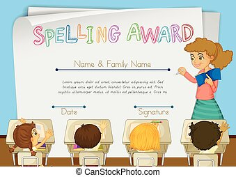 Eps vector of certificate template for baseball award illustration certificate template for spelling award yadclub Images