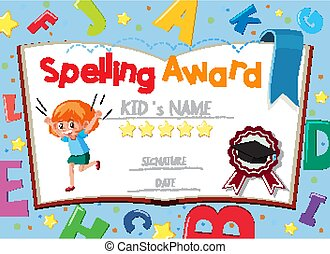 Certificate template for spelling award with alphabets in background