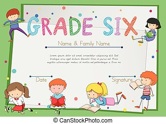 Certificate template for students grade six