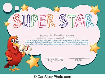Certificate template for super star illustration