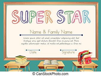 Certificate template for super star with classroom...