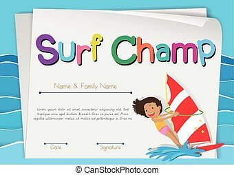 Certificate template for surf champ