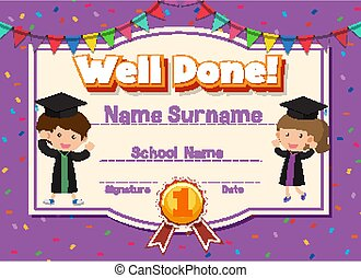 Certificate template for well done with children in background