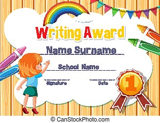 Certificate template for writing award with girl writing in background