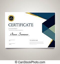 Certificate Template - horizontal elegant vector document -...