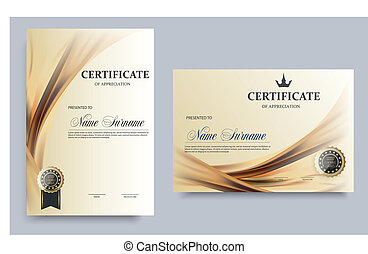 Certificate template in vector for achievement graduation completion - stock vector