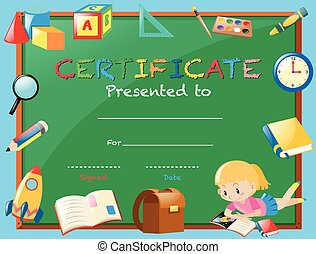 Reading award certificate template with bird reading book clip certificate template with girl reading book yelopaper Choice Image