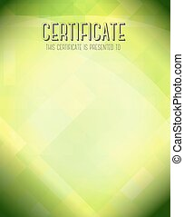 Certificate template with green background