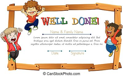 Certificate template with kids and wooden frame