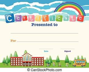 Certificate template with kids at school