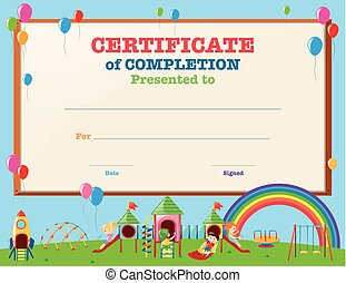 A vector illustration of kids receiving award in art eps vector certificate template with kids in playground yelopaper Images