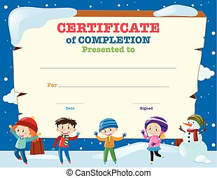 Certificate template with kids in the snow